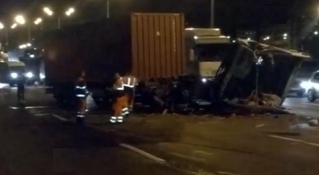 На 75-м километре МКАД произошла автомобильная авария фото