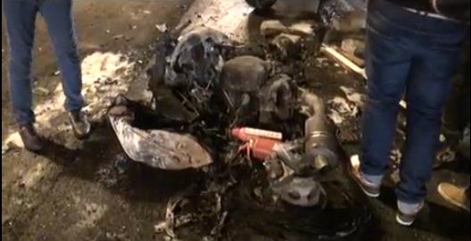 QIP Shot Screen 763 На внешнем кольце 74 го километра МКАД сгорел мотоцикл