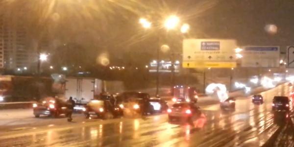 1km2 ДТП на МКАД в Москве, столкновение 12 машин